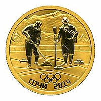 Памятная монета из золота с изображением игры в Кёрлинг