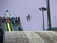 Комплекс трамплинов Русские Горки прыжок на соревнованиях
